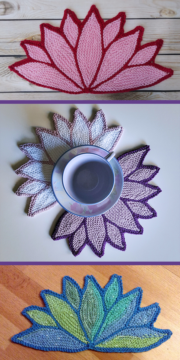 Free Knitting Pattern for Water Lily Dish Cloth