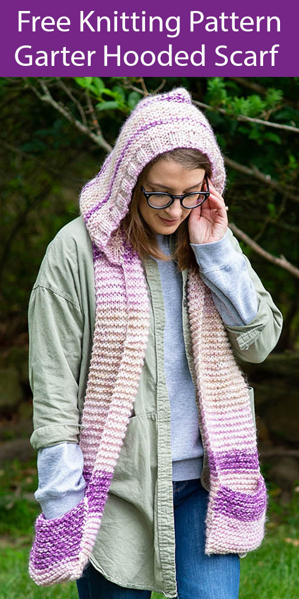 Free Knitting Pattern for Watercolors Garter Hooded Scarf