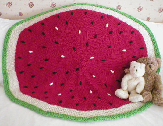 Knitting Pattern for Watermelon Baby Blanket