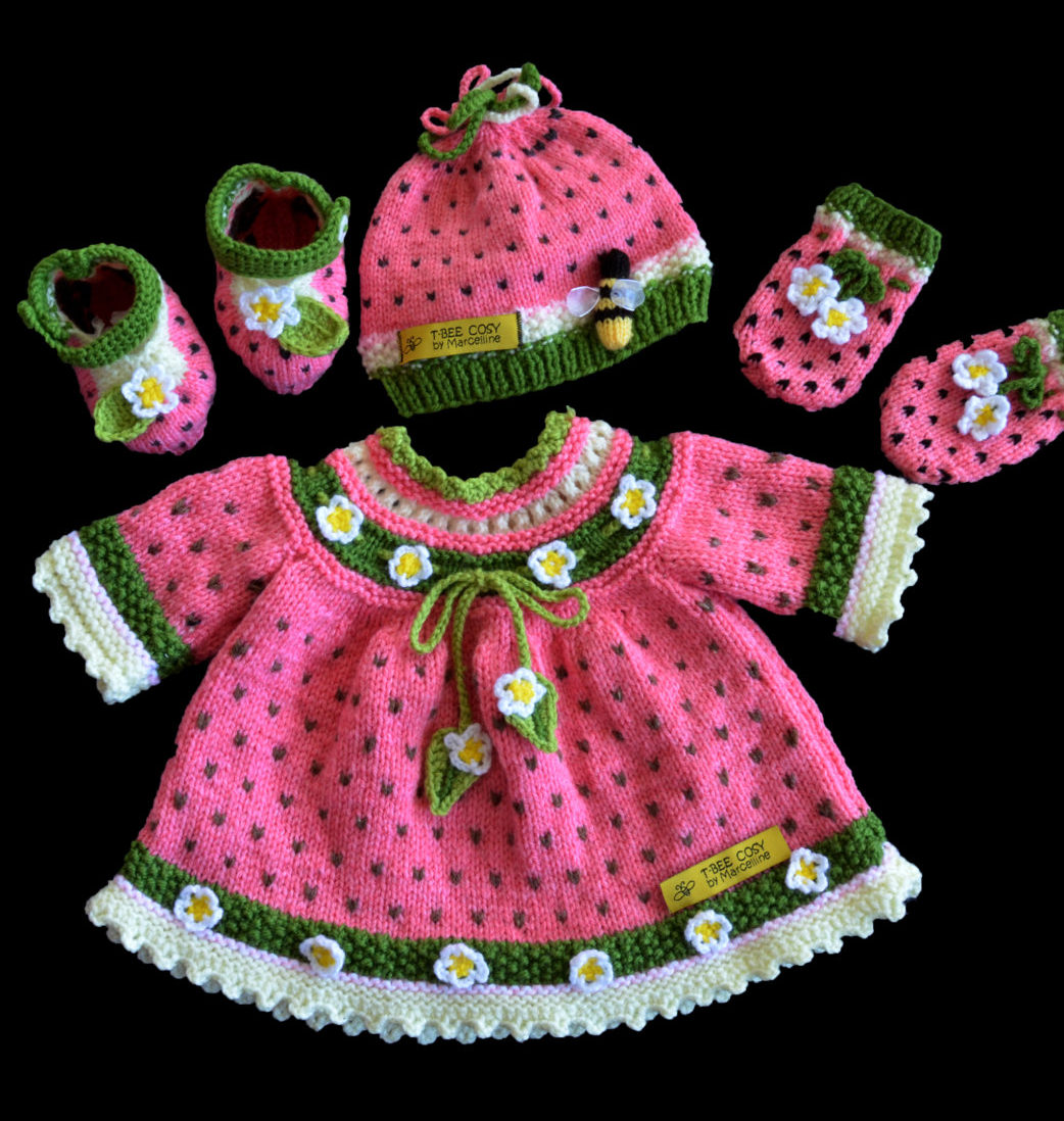 Knitting Pattern for Watermelon Baby Set