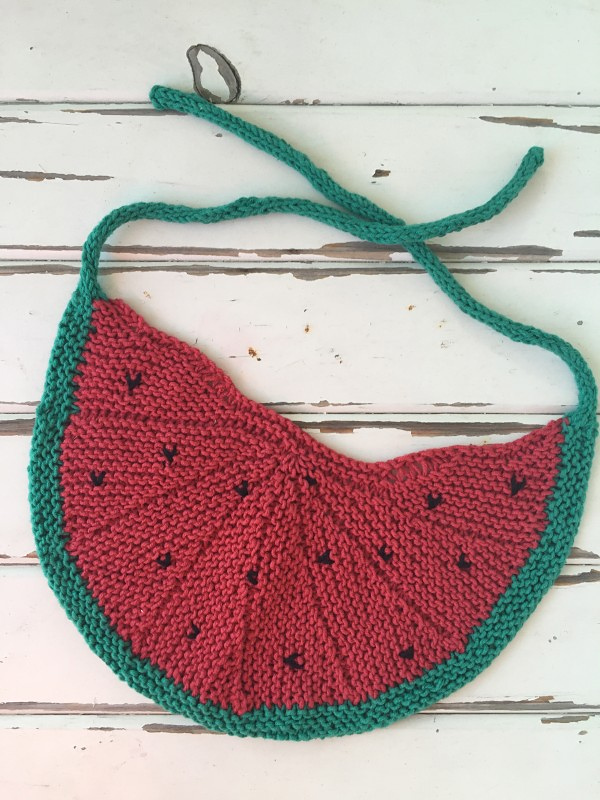 Free Knitting Pattern for Watermelon Bib