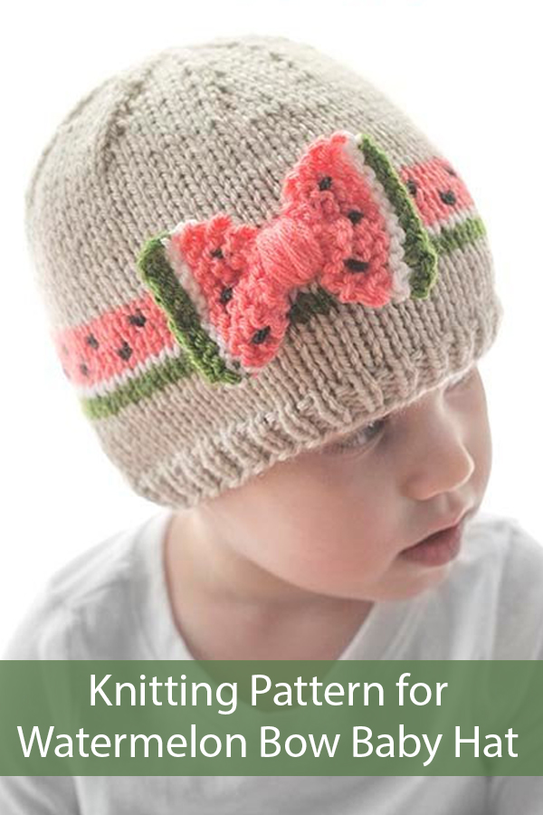 Knitting Patterns for Watermelon Bow Baby Hat