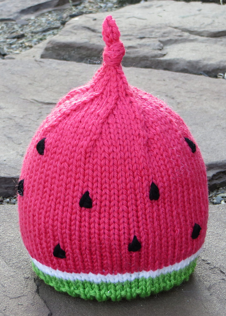 Free Knitting Pattern for Easy Baby Watermelon Hat
