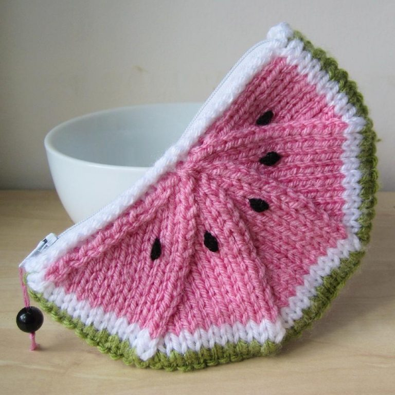 Free Knitting Pattern for Watermelon Purse