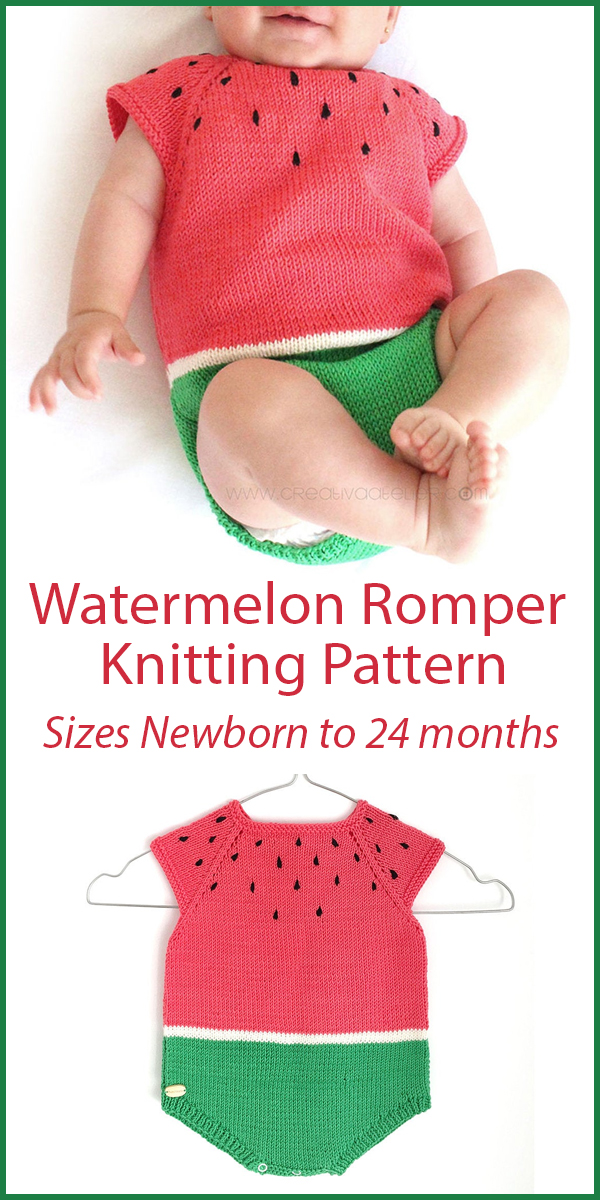 Knitting Pattern for Watermelon Baby Romper Sizes Newborn to 24 months