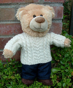 Free Knitting Pattern for Dr. Watson's Oatmeal Jumper for Teddy Bears