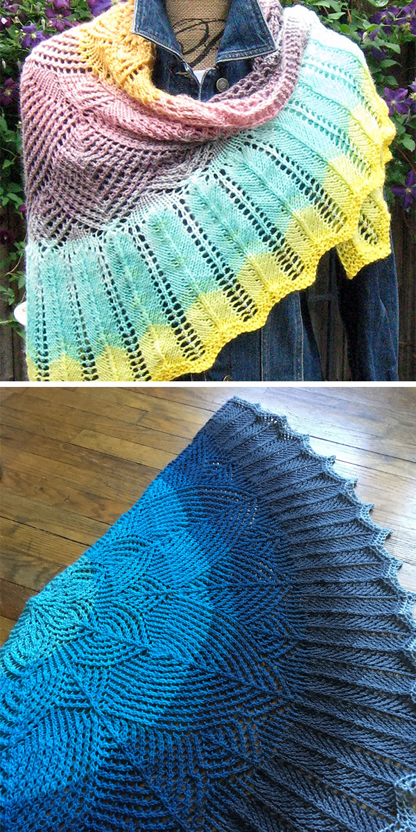 Free Knitting Pattern for One Skein Wavedeck Shawl