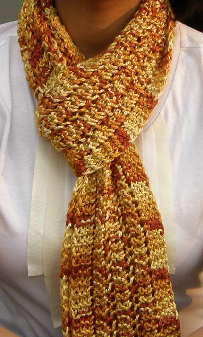 Knitting Pattern for One Row Repeat Lace Scarf