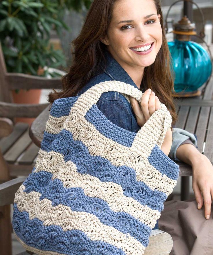 Waves Tote Bag Free Knitting Pattern | Bag, Purse, and Tote Free Knitting Patterns at http://intheloopknitting.com/bag-purse-and-tote-free-knitting-patterns/