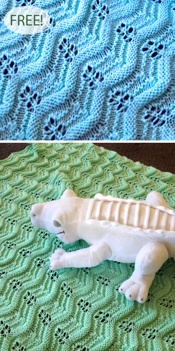 Free Knitting Pattern for Waving Lace Baby Blanket