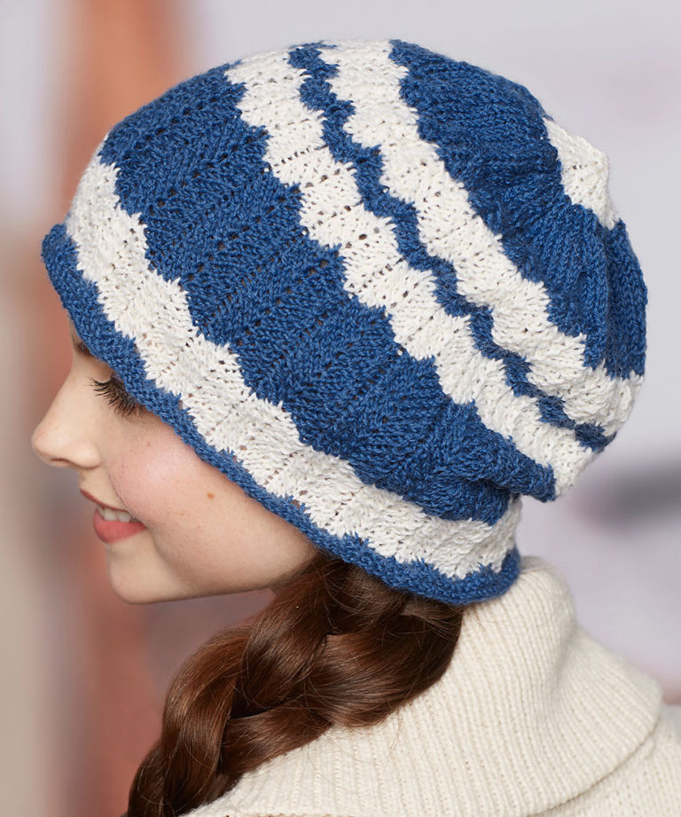 Free Knitting Pattern for 2 Row Repeat Wavy Stripe Hat