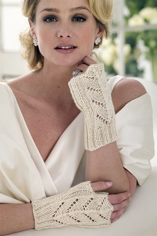 Free Knitting Pattern for Wedding Belle Lace Gloves