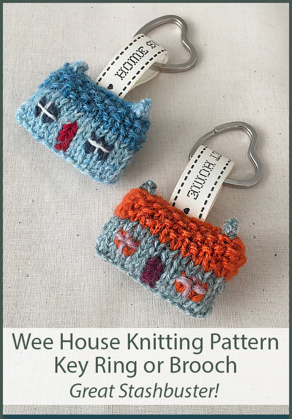 Knitting Pattern for Wee House Brooch and Key Ring