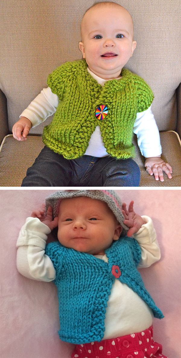 Free Knitting Pattern for Easy Wee Speedy Baby Cardigan