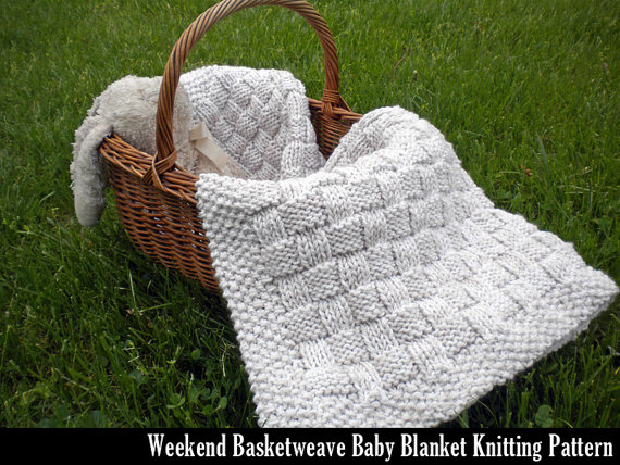 Knitting pattern for Weekend Basketweave Baby Blanket and more easy baby blanket knitting patterns