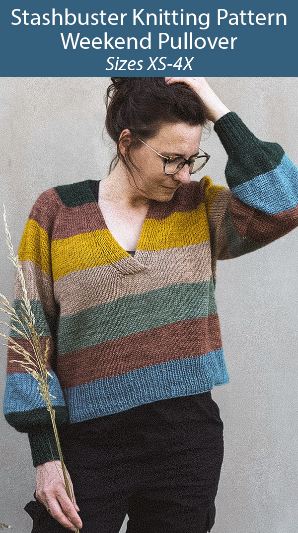 Stashbuster Knitting Pattern for Weekend Pullover Sweater Sizes XS-4X