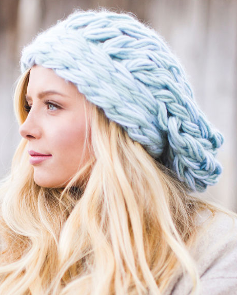 Knitting Pattern for Arm Knit Slouch Hat