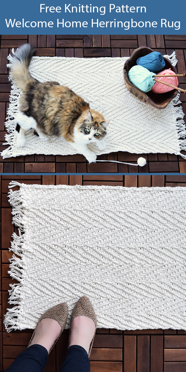 Free Knitting Pattern for Welcome Home Herringbone Rug