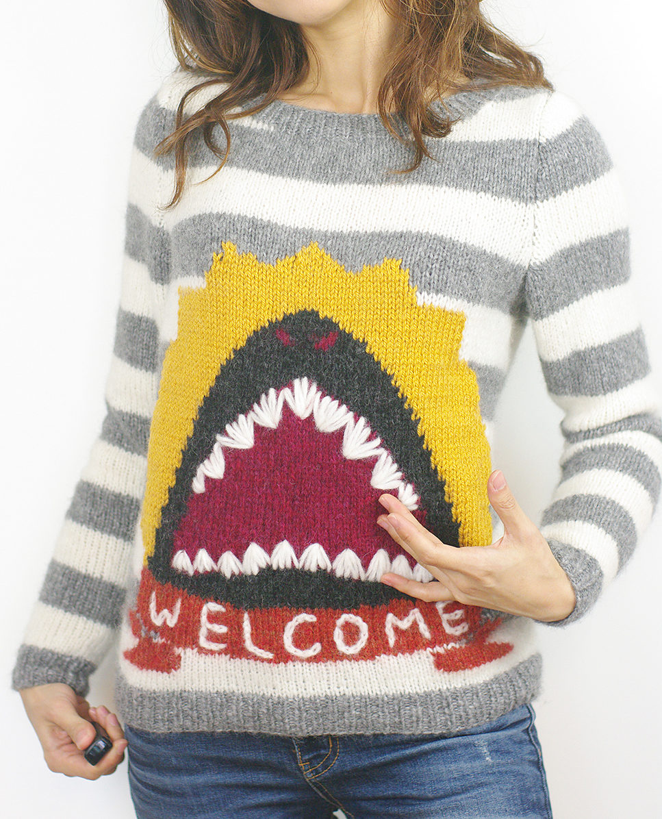 Free Knitting Pattern for Welcome Shark Sweater