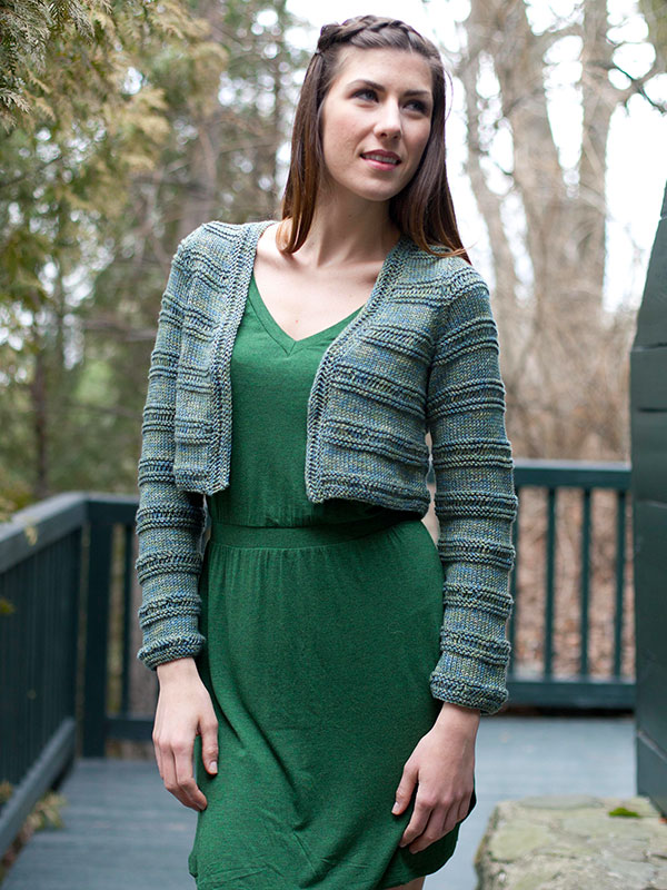 Free knitting pattern for Westbury croppled long sleeved cardigan by Berroco. Great for multi color yarn