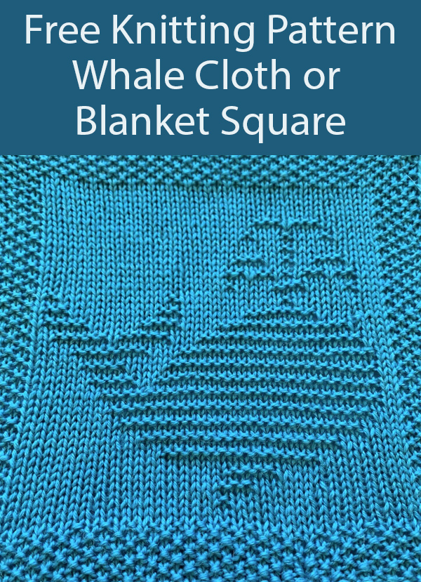 Free Knitting Pattern for Whale Dishcloth or Afghan Square