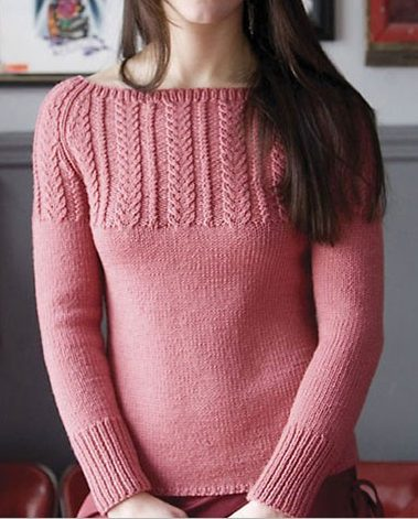 Free Knitting Pattern for Wheat-Ear Cable Yoke