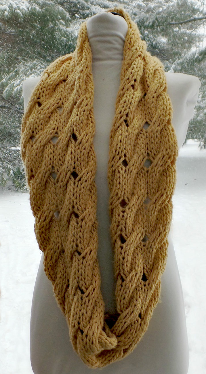 Free Knitting Pattern for Willow Infinity Scarf Cowl