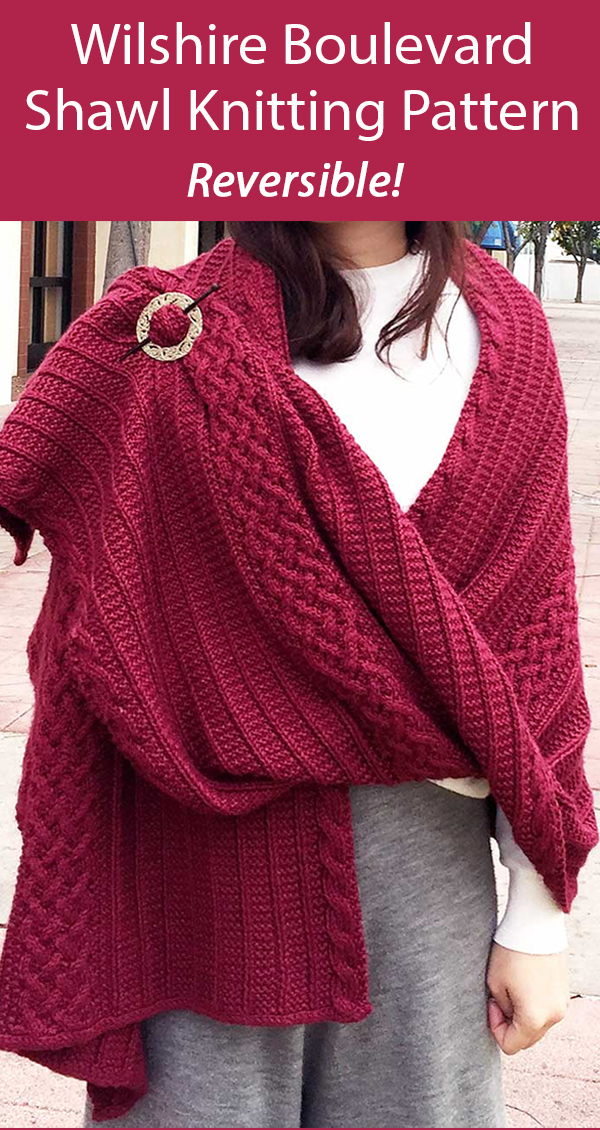 Shawl Knitting Pattern for Reversible Wilshire Boulevard Wrap