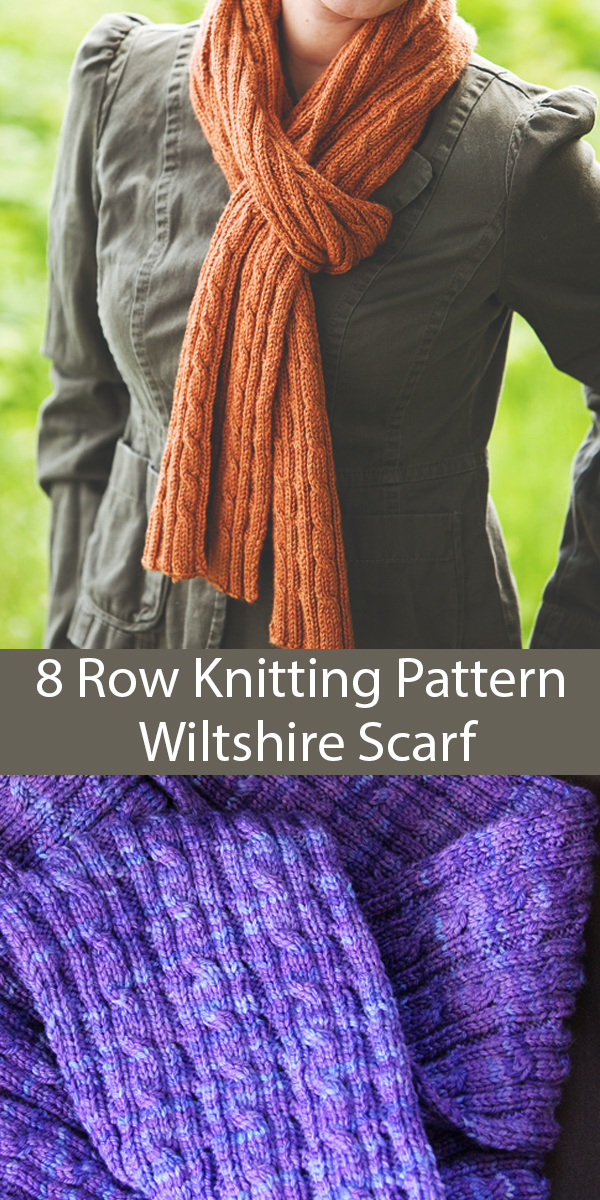 Knitting Pattern for 8 Row Repeat Wiltshire Scarf