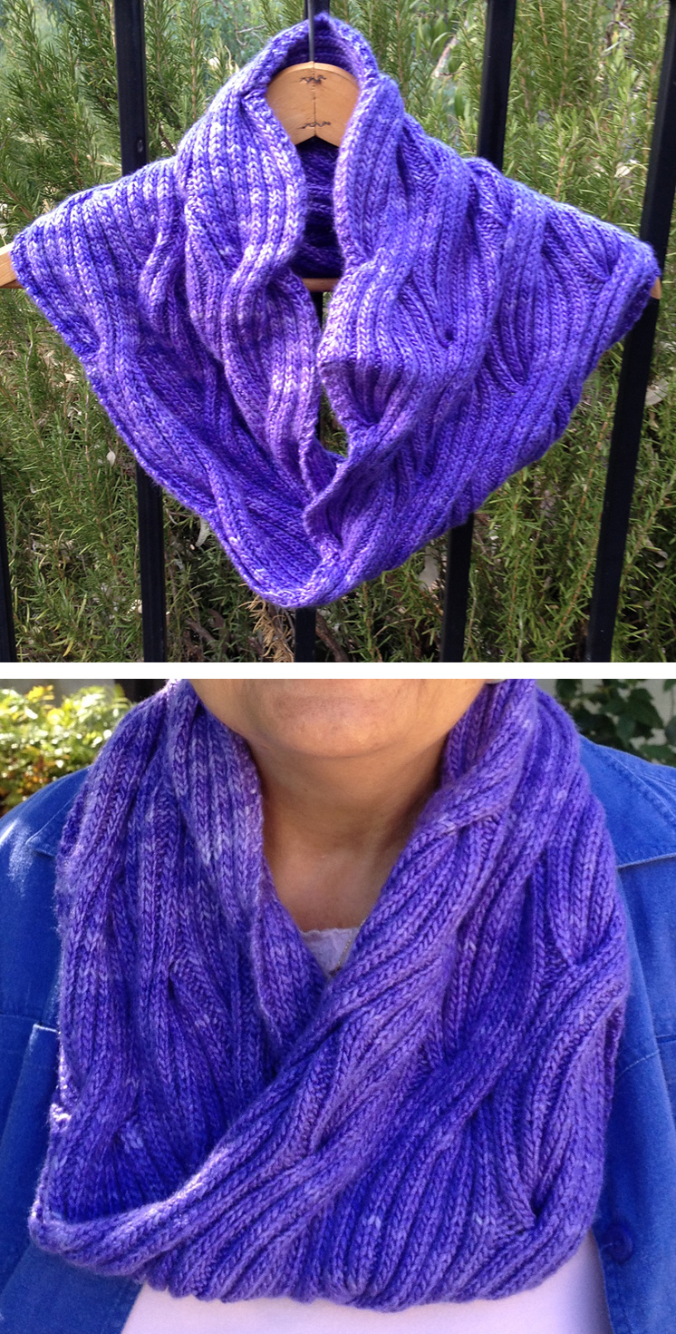 Free Knitting Pattern for Winding River Cowl