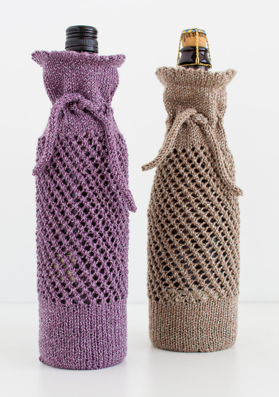 Wine Bottle Gift Bag Knitting Pattern