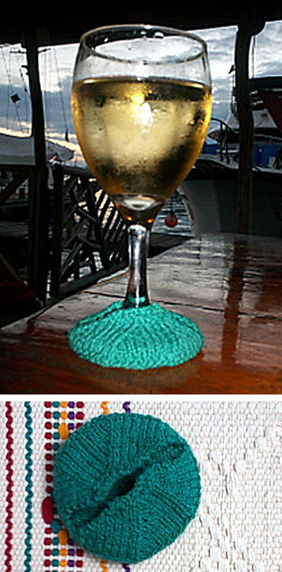 Free Knitting Pattern for Wine Glass Slip-on Coaster