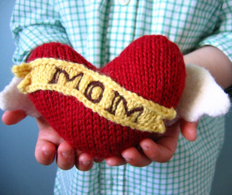 Free Knitting Pattern for Winged Heart Tattoo