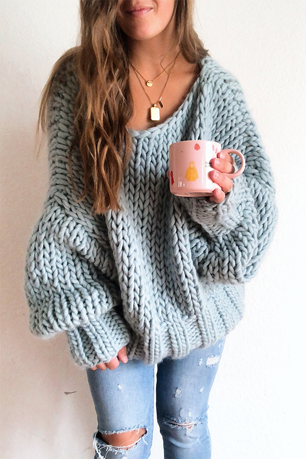 Knitting Pattern for Winter Blues Pullover Sweater