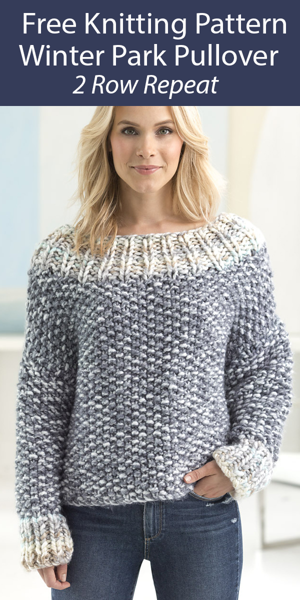 Free Sweater Knitting Pattern 2 Row Repeat Winter Park Pullover Sweater