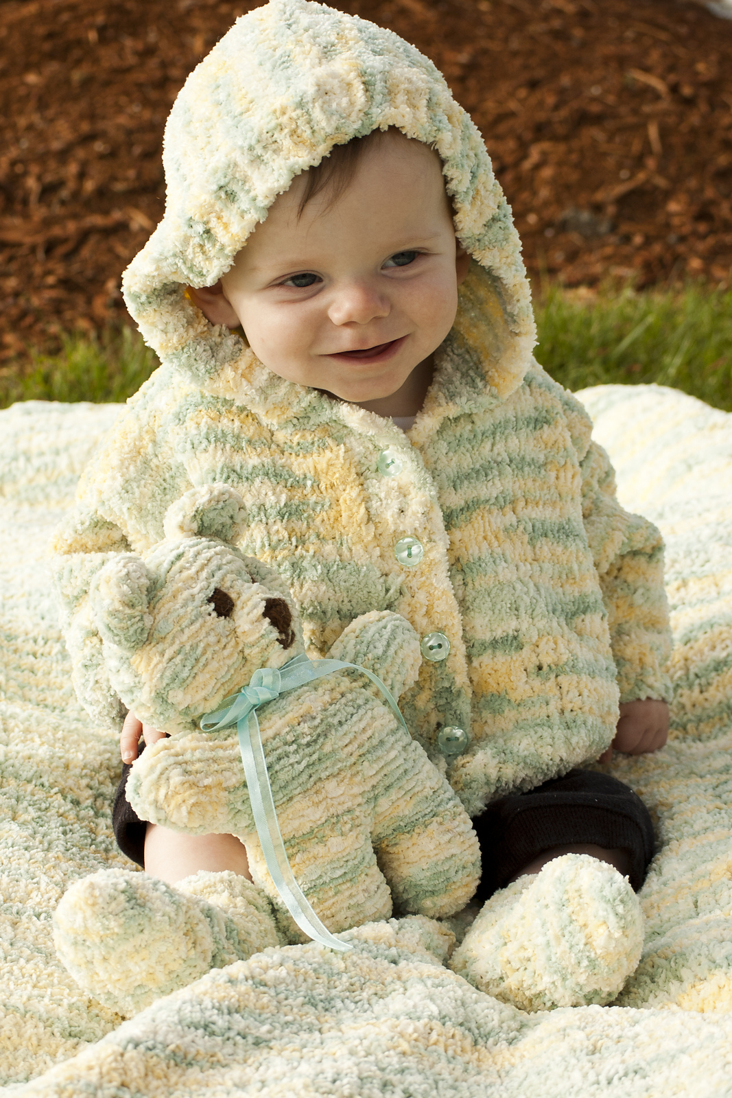 Free Knitting pattern for Winter Warmer Baby Set