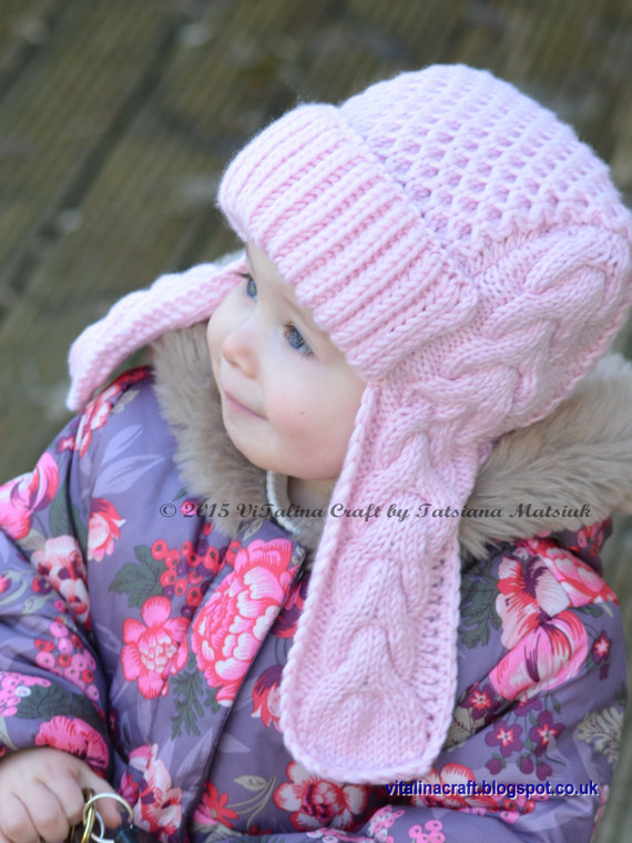 Knitting pattern for Winterberry Earflap Hat for Toddlers and Children with  aviator style brim and cabled bcd3bc80e88
