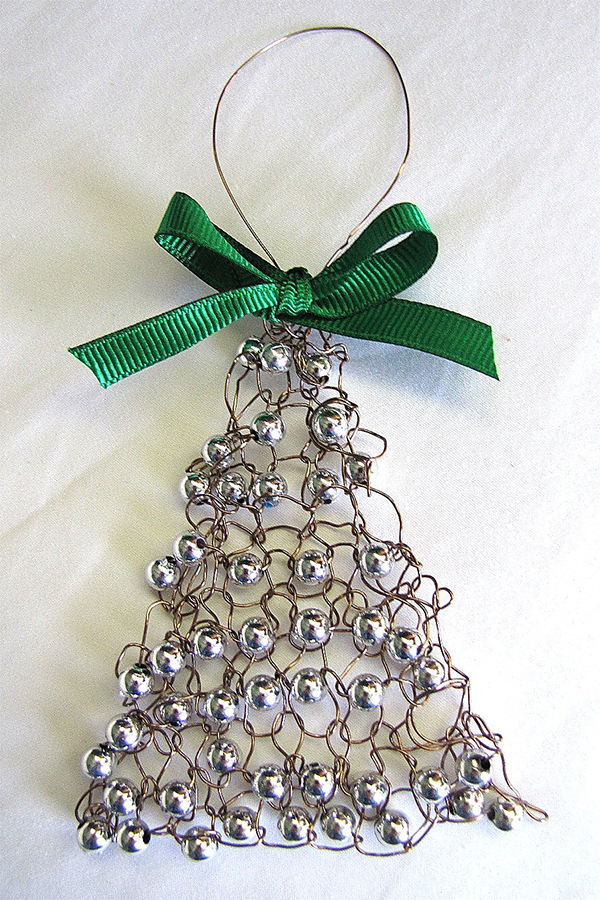 Free Knitting Pattern for Easy Wire Christmas Tree Ornament