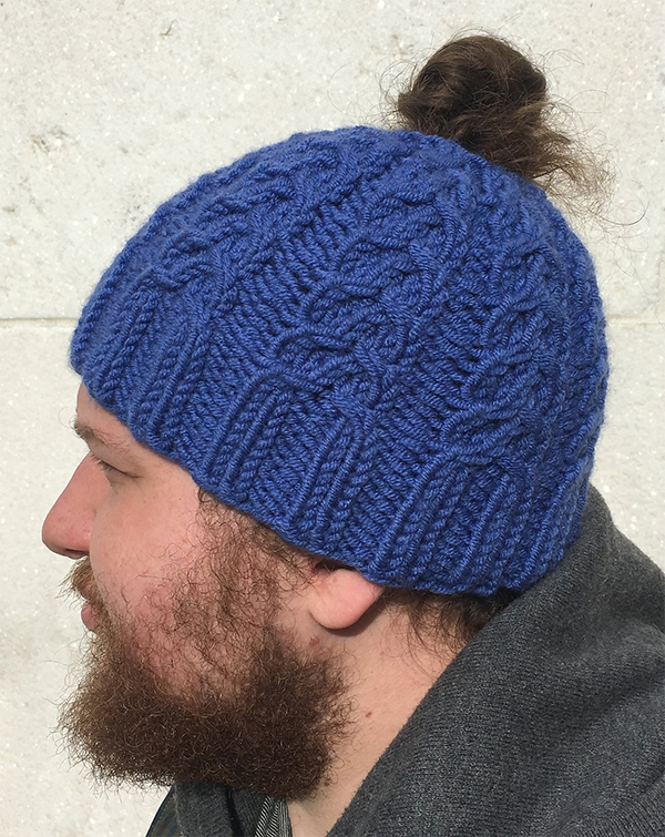 Free Knitting Pattern for 4 Row Repeat Wishbone Bun-Hat