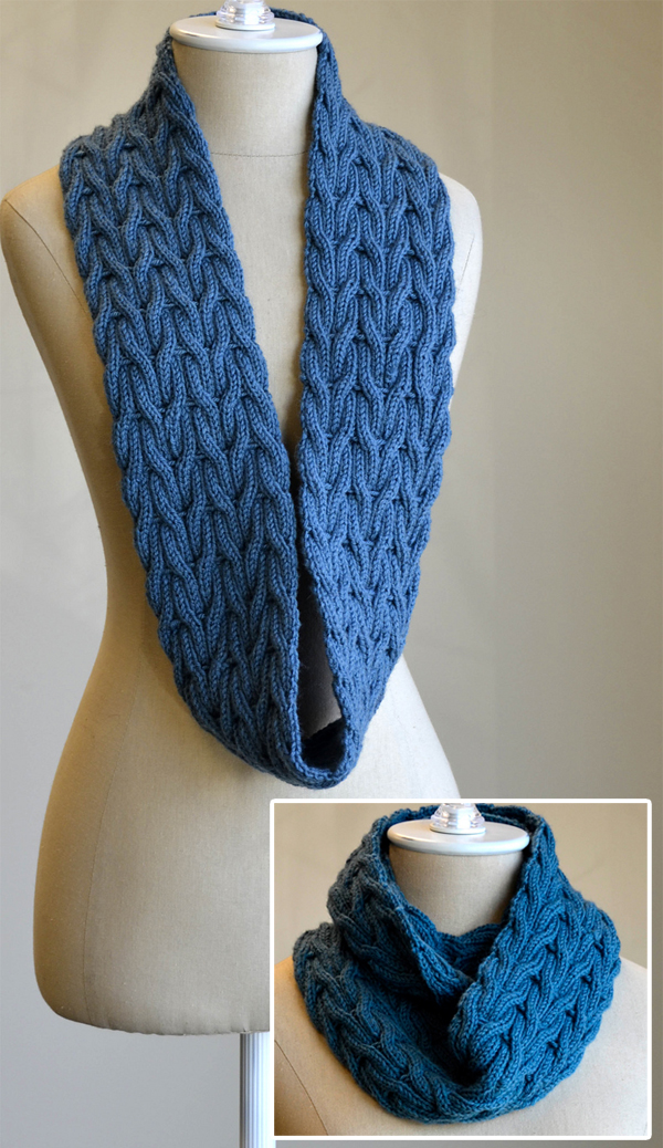 Free Knitting Pattern for Wishing Cowl Infinite Scarf