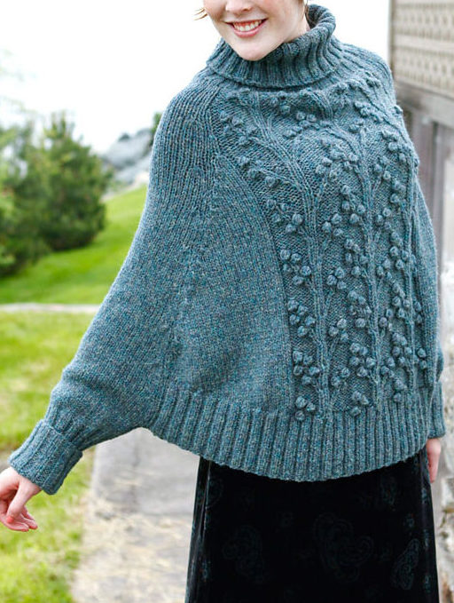 Free Knitting Pattern for Wisteria Poncho with Sleeves