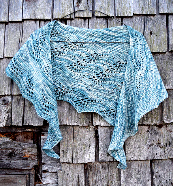 Knitting Pattern for With the Tide One Skein Shawl
