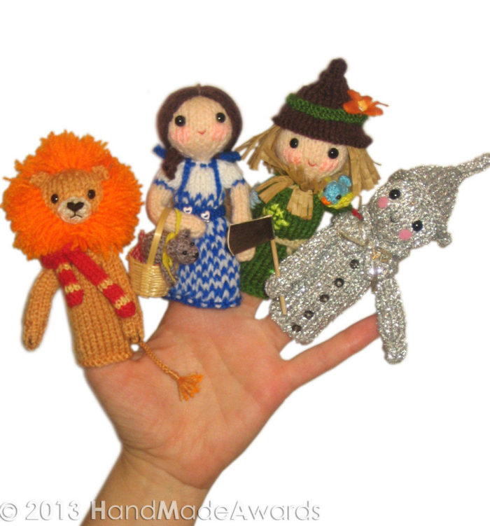 Knitting Pattern for Wizard of Oz Finger Puppets
