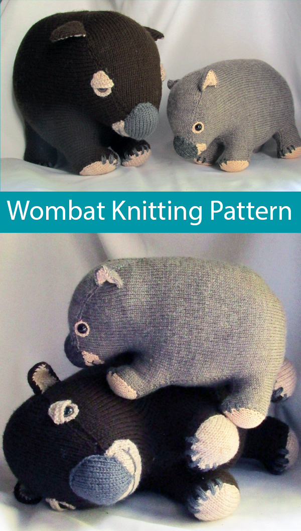Knitting Pattern for Wombat Toy to support Animals Australia