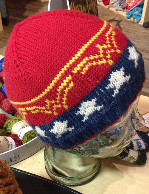 Free knitting pattern for Wonder Woman Beanie Hat