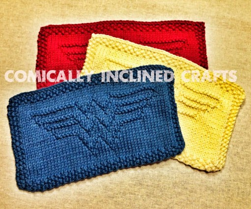 Knitting patterns for Wonder Woman dishcloths