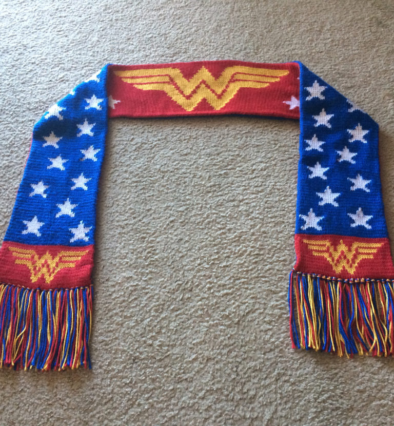 Free Knitting Pattern for Wonder Woman Scarf