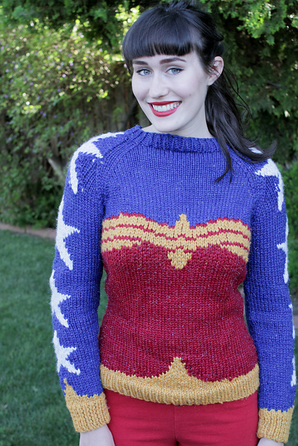 Wonder Woman Sweater Free Knitting Pattern and more super hero knitting patterns