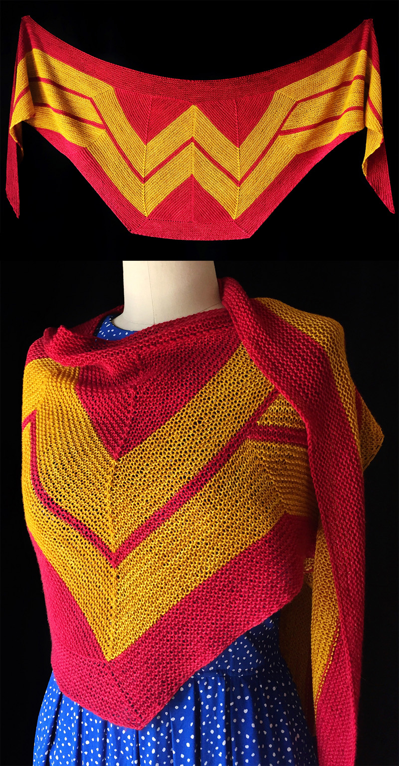 Free Knitting Pattern for Wonder Woman Wrap