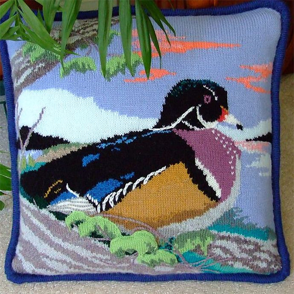 Free knitting pattern for Wood Duck Pillow